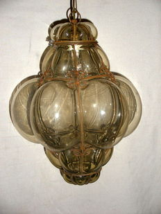 Ancient Venetian lantern in Murano blown glass in an iron cage - Italy, 1940s