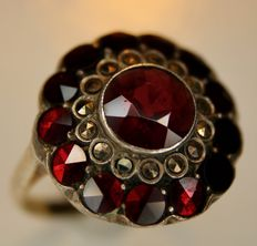 Sterling Silver Ring from around 1920 with Bohemian Garnet approximately 2.66Ct. and small marcasites