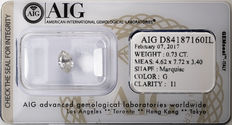 AIG Sealed 0.73 ct Loose Marquise cut diamond  G Color , I1   ** Low Reserve **