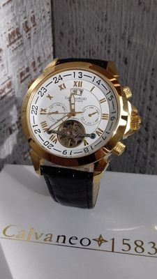 Calvaneo 1583...shiny gold.....heren horloge.