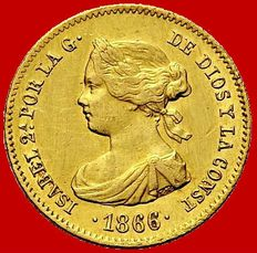 Spain – Isabel II (1833–1868) – 4 escudos gold coin – 1866 – Madrid