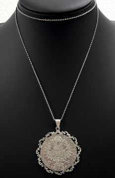 Silver Jasseron link necklace with a pendant - R IMP Hu Bo Reg M. Theresia DG - Burg Co Tyr 1780 Archid Ayst Dux - grade 835 silver