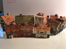 Nine pieces ceramic houses, Heritage Houses, Tey pottery Hainford, England, 1970s