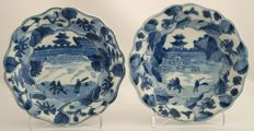 Lobed platters with a decoration of a figure on a horse at a castle - China - Approx. 1700, Kangxi period (1622-1722)