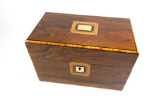 A Victorian rosewood and tulipwood parquetry tea caddy - England - circa 1870