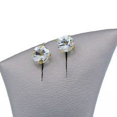 Yellow gold earrings with two aquamarines weighing 0.92 ct