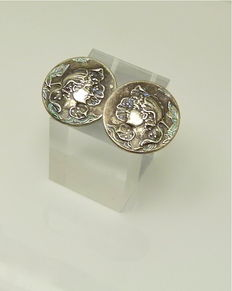 "Authentic French 1940s Art Nouveau ""enamel flower fairy"" earrings first grade silver"
