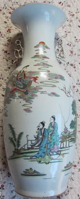"Large porcelain vase with polychrome image of a woman on a phoenix bird, and calligraphy on ""hokker""base - China - approx. 1900"