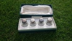 box of 4 individual salt shakers, sterling silver, christofle brand