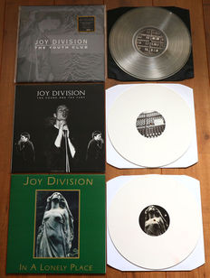 Joy Division- lot of 3 rare live lp's: The Youth Club (limited & numbered, 300 copies, gold vinyl), The Sound And The Fury (white vinyl) & In A Lonely Place (white vinyl)