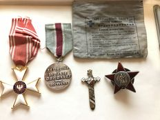 Lot with badges. Medal of the Red Star, solid silver, Polish officer's cross 1944 and war medal on ribbon 1939 WW2