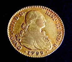 Spain – Carlos IV – Doubloon of 2 Escudos, 1799, Seville CN – Gold
