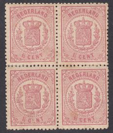 The Netherlands 1869 - Heraldic shield - NVPH 16B in block of four