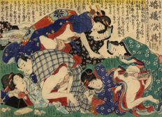 Erotic Shunga Utagawa school print - Japan - circa 1860.