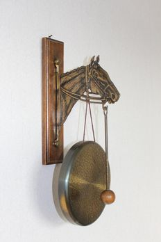 Antique bronze gong with horse head
