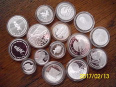 World - 15 x silver coins in plastic capsule