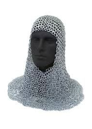 Medieval white coif with stainless steel rings