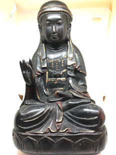Seated Buddha in wood - China - late 20th century