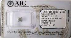 AIG Sealed 0.72 ct Loose Radiant cut diamond  E Color , SI3   ** Low Reserve **