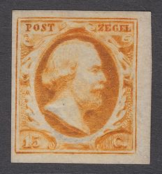The Netherlands 1852 – King Willem III first emission – NVPH 3a, with certificate of inspection