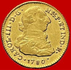 Spain - Carlos III (1759-1788), doubloon of 2 gold escudos. Popayán, 1780.
