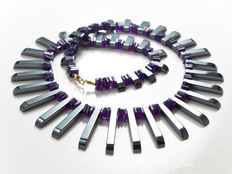 Amethyst and Hematite graduated 'Cleopatra' necklace in 18 kt gold