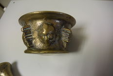 Antique mortar. With 3 pestles, bronze.-Probably Spanish-17th century or early 18th century.