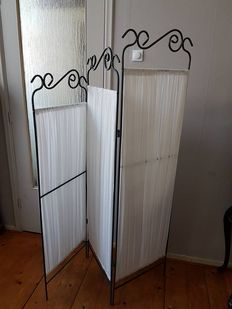 Metal with fabric three-part folding screen