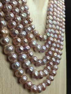 Lavender freshwater pearls extra long necklace