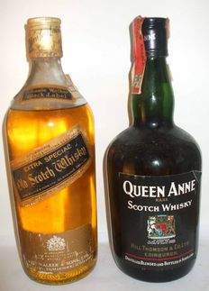 2 bottles : Johnnie Walker Black Label Extra Special - 1970s & Queen Anne Rare Scotch Whisky 1990s