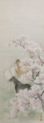 "Scroll painting  ""Horses and cherry blossoms"" - Japan - early 20th century"