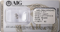 AIG Sealed 0.68  ct Loose Marquise cut diamond E colour,  SI2   ** Low Reserve **