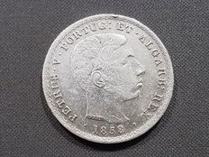 Portugal – 500 Reis  silver coin – D. Pedro V  –  Year 1858