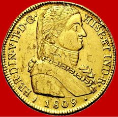 Spain – Fernando VII (1808– 1833) –  Doubloon of 8 escudos gold coin, 'admiral' bust – 1809 –  Santiago de Chile Very scarce