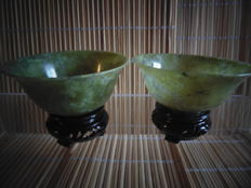 Two jade stone bowls – China – second half of the 20th century