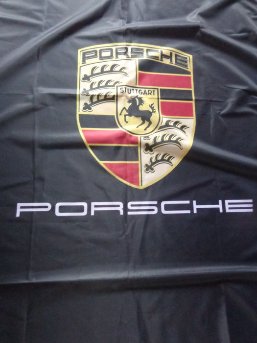 Porsche - dealer flag black - 200 x 50 cm