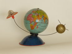 Pewter globe with Sputnik and flying saucer