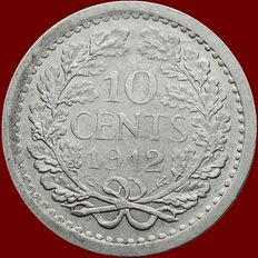 The Netherlands - 10 cent 1912 Wilhelmina - silver.