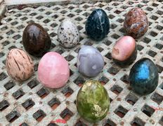 Collection of polished Mineral eggs - 7,2 to 8,2cm - 3,47kg  (10)