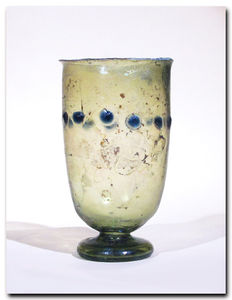 Roman Glass Beaker with Marvered Blue - 10.5 H