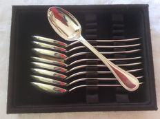 Nine dessert spoons, Christofle France Perles, 2010