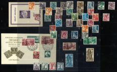 French Occupation of Baden 1947/1949 - Selection with stamps from block 2 - Michel 1/56