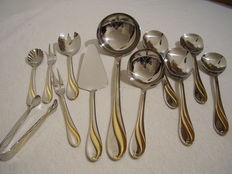 Cutlery box H.K.S. 71 pieces 11-12 persons, 18/10 stainless steel with gold decor.