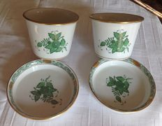 Herend -   2 porcelain cachepots with saucers