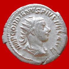 Roman Empire -  Gordian III (238-244 A.D.) silver antoninianus (3,79,. 24 mm.) Rome mint. LAETITIA AVG N