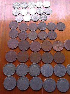 Portugal- 11 x 0,50 cents-22 x 1 escudo- 14 x 2,50 escudos several years (Total 47 coins)