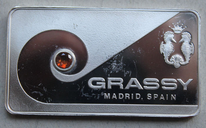 Silver bullion GRASSY Madrid Spain with an Andalusite stone - rare