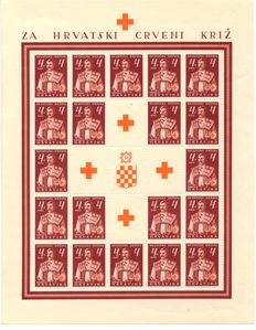 Croatia 1941/1943 - collection with various sheets. Included are Trachtenbilder, Michel 66 to 68, 115 and flowers, unissued sheet set