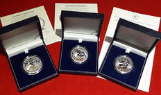 Spain - Juan Carlos I - Silver - 3, €10 coins commemorating the FIFA World Cup - Silver - In luxury cases - Certified