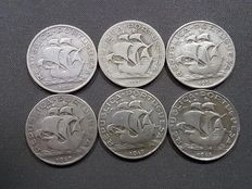 Portugal – Lot of 6 silver 5 escudos coins – Years 1932, 1933, 1934, 1940, 1947 and 1948.